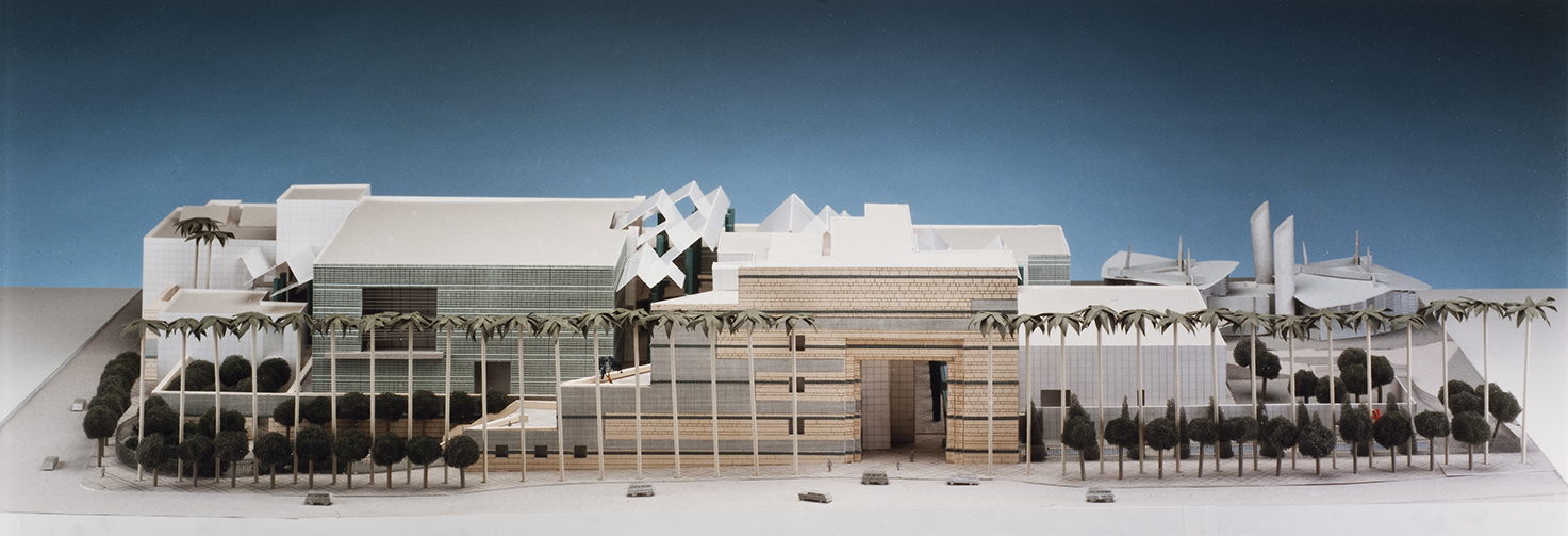 Model study for Los Angeles County Museum of Art showing unrealized plan to reclad the 1965 buildings, 1988
