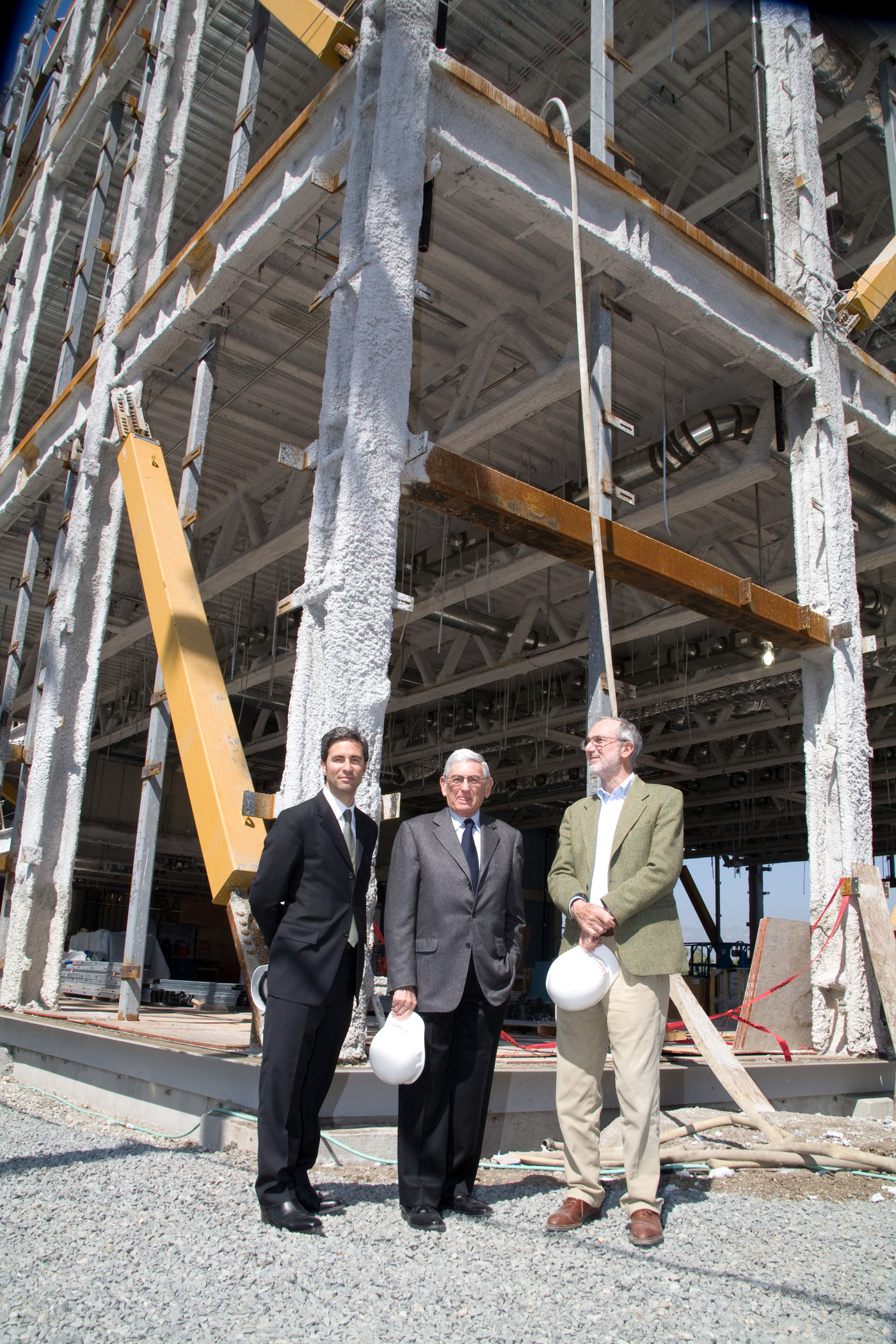Michael Govan, Eli Broad, and Renzo Piano, construction of Broad Contemporary Art Museum (BCAM), LACMA, 2007