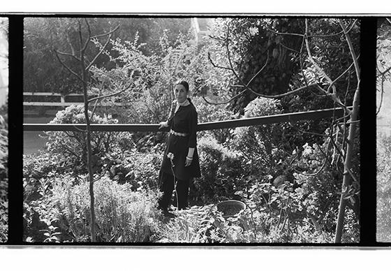 Hurtado in the garden of her home on Mesa Road in Santa Monica Canyon, 1973