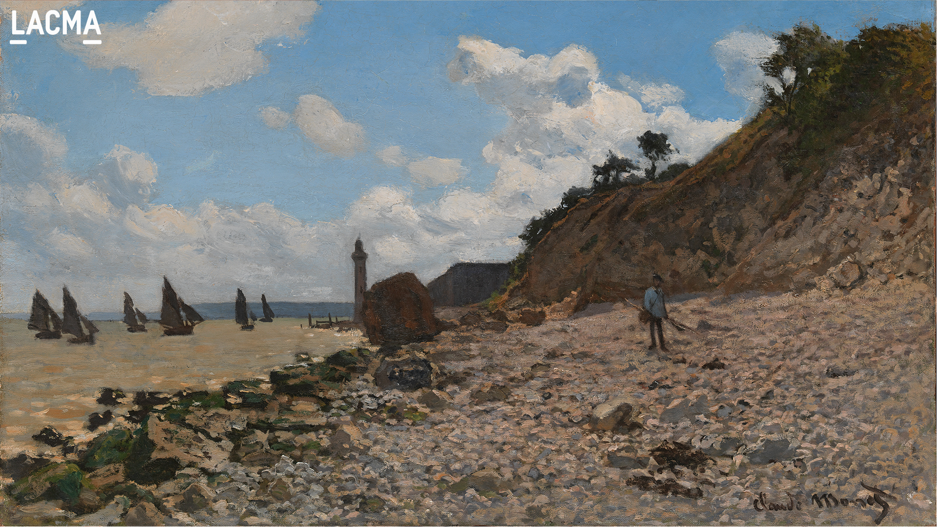 The Beach at Honfleur by Claude Monet (1840, Paris - 1926, Giverny)
