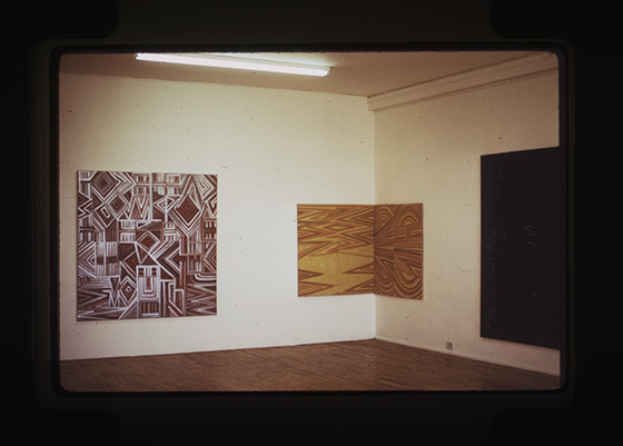 Installation view of Huratado's exhibition at the Woman's Building  in Los Angeles, 1974