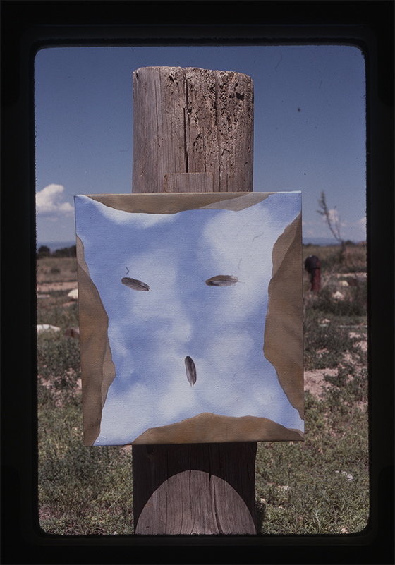 """A """"sky skin"""" painting in Taos, New Mexico, c. 1976"""
