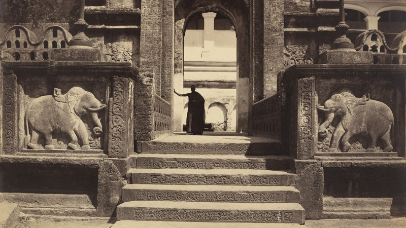 Scowen & Co., Entrance to the [Palace Complex Housing] Buddhist Temple, Kandy (detail), c. 1880–90
