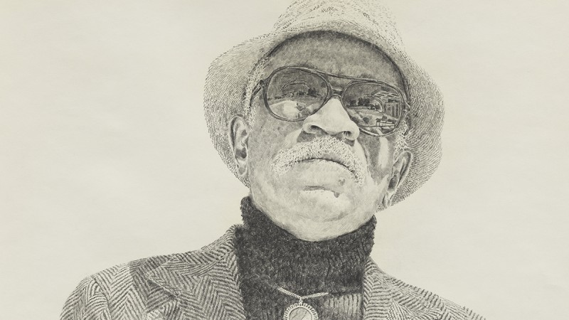 Image: Kent Twitchell, Portrait of Charles White (detail), 1977