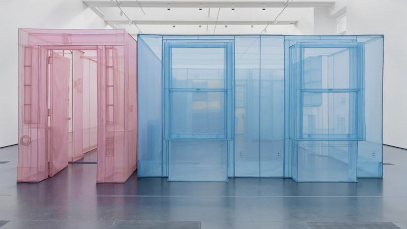 Do Ho Suh's replicated ground-floor residence, created with pink and light blue polyester