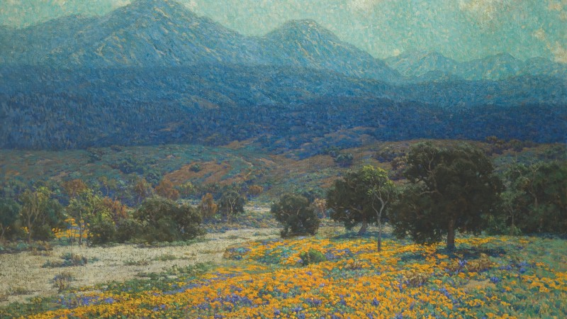 Granville Redmond, California Poppy Field, circa 1926, Oil on canvas, Canvas: 40 1/4 × 60 1/4 in. (102.24 × 153.04 cm), Frame: 44 3/4 × 64 3/4 × 3 1/4 in. (113.67 × 164.47 × 8.26 cm), Los Angeles County Museum of Art, Gift of Raymond Griffith (40.7), photo © Museum Associates/LACMA