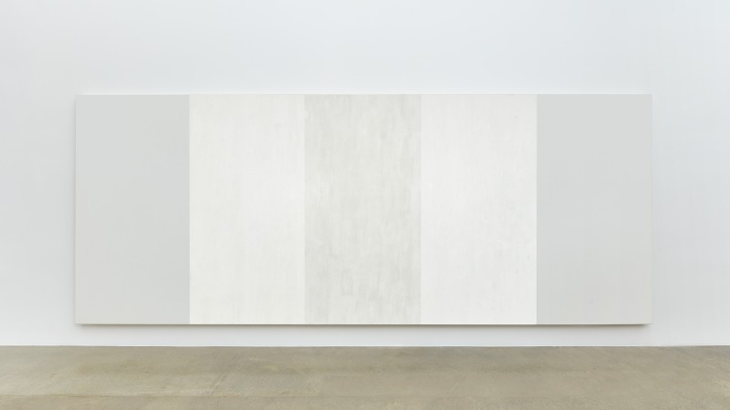 Mary Corse, Untitled (White Inner Band), 2003, glass microspheres and acrylic on canvas, 96 × 240 in., collection of the artist, courtesy Kayne Griffin Corcoran, Lisson Gallery, and Pace Gallery, © Mary Corse, photograph by Flying Studio