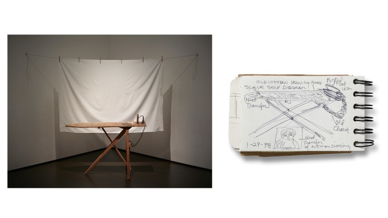 (left): Betye Saar, I'll Bend But I Will Not Break, 1998, vintage ironing board, flat iron, chain, white bedsheet, wood clothespins, and rope, Los Angeles County Museum of Art, gift of Lynda and Stewart Resnick through the 2018 Collectors Committee  © Betye Saar,  photo © Museum Associates/ LACMA (right): Betye Saar, page from 1998 sketchbook, January 29, 1998,  collection of Betye Saar, courtesy of the artist and Roberts Projects, Los Angeles, © Betye Saar, photo © Museum Associates/ LACMA