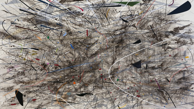 Julie Mehretu, Black City, 2007, ink and acrylic on canvas, 120 × 192 in., Pinault Collection, © Julie Mehretu, photograph by Tim Thayer