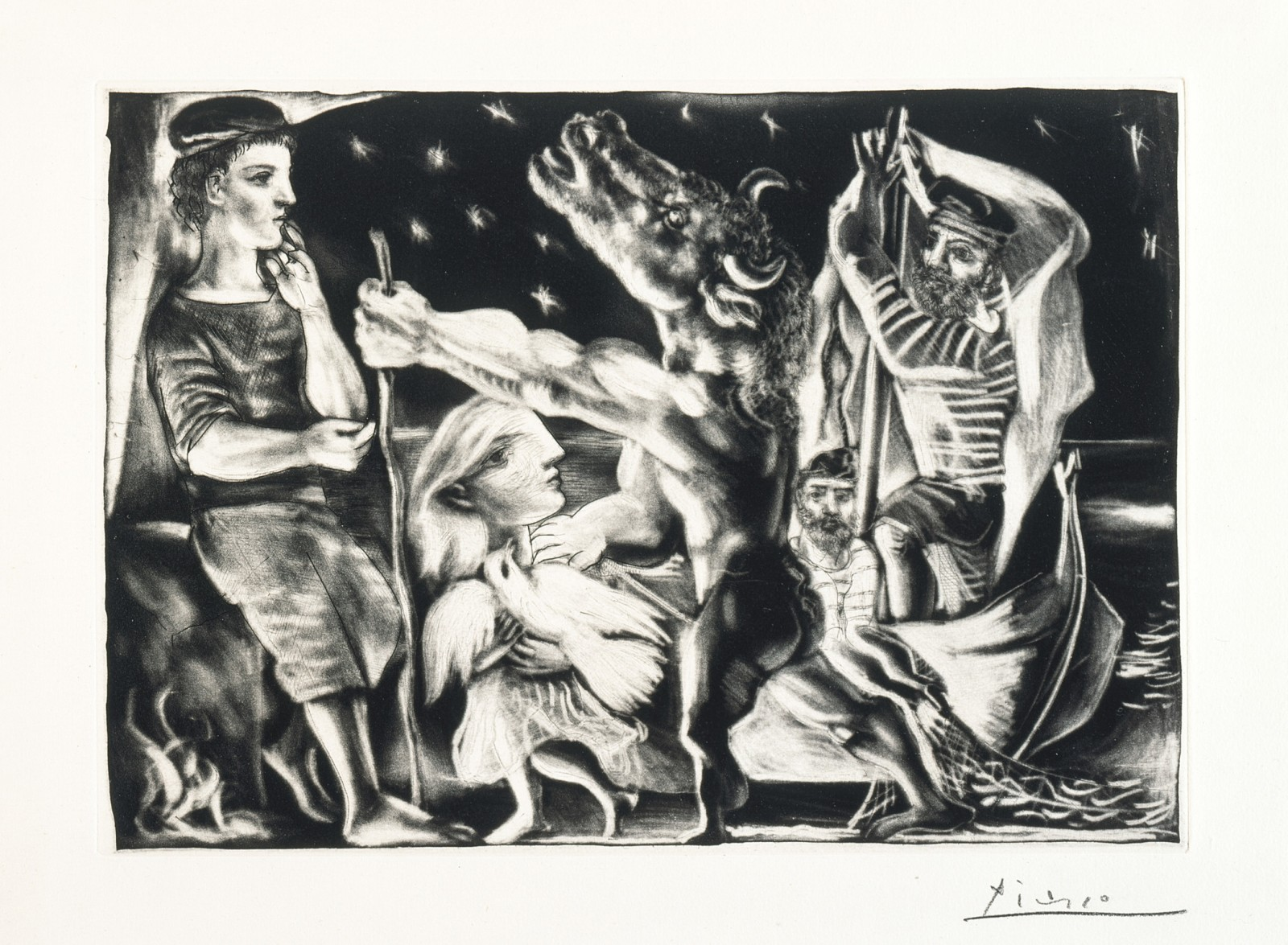 Image, above: Pablo Picasso, Blind Minotaur Led through the Night by Girl with Fluttering Dove, 1934