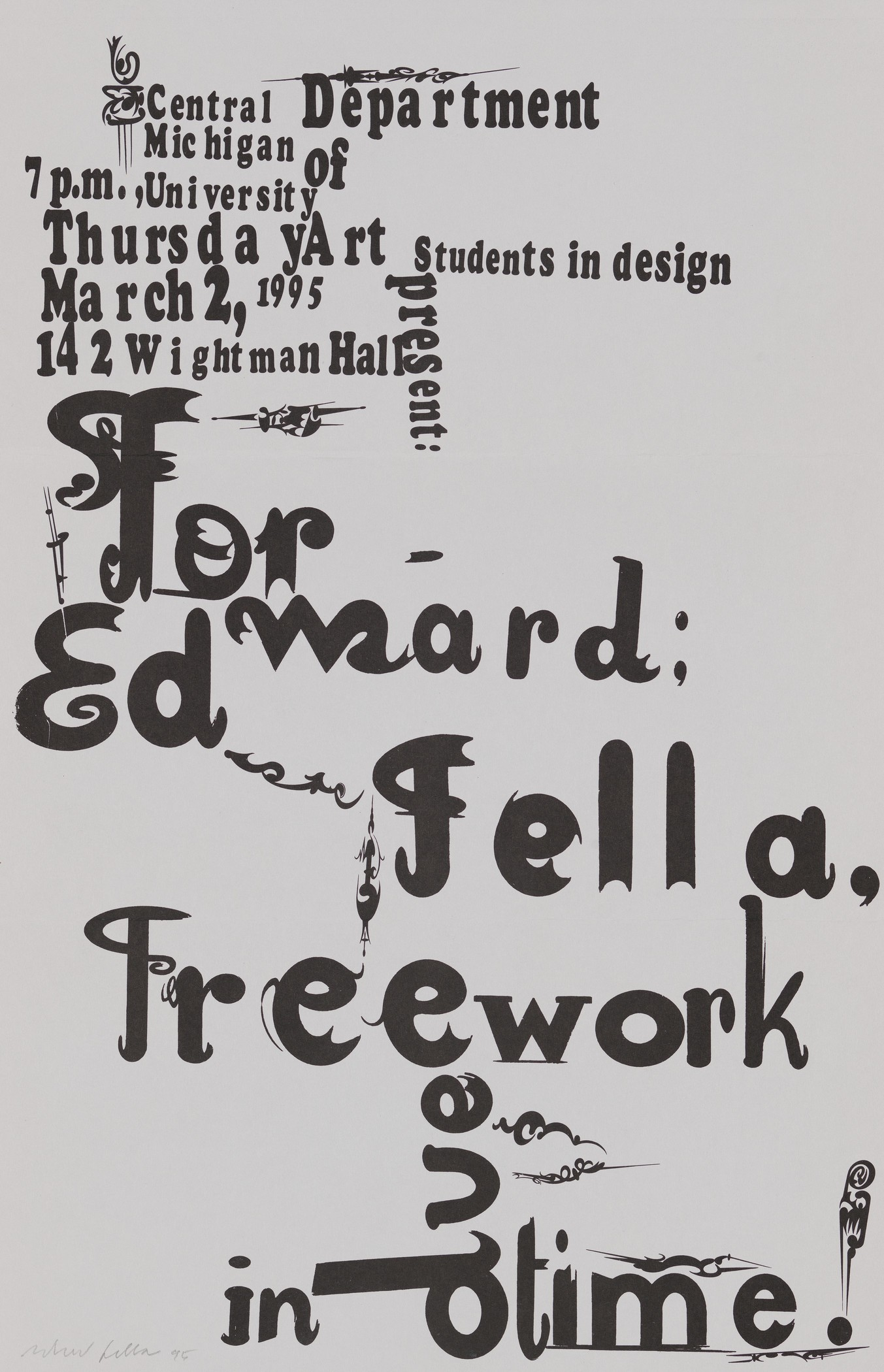 Image: Edward Fella, Flyer for lecture at Central Michigan University, 1995