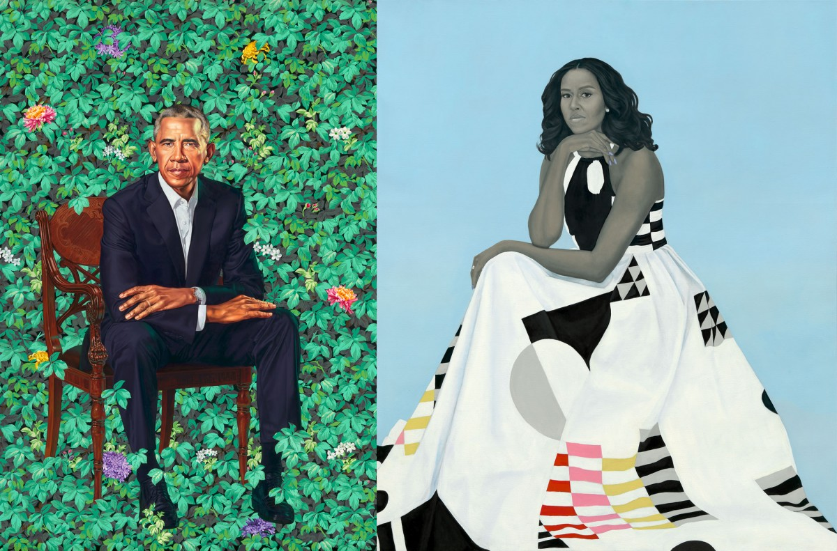 """Barack Obama"" by Kehinde Wiley, oil on canvas, 2018. Michelle LaVaughn Robinson Obama"" by Amy Sherald, oil on linen, 2018."