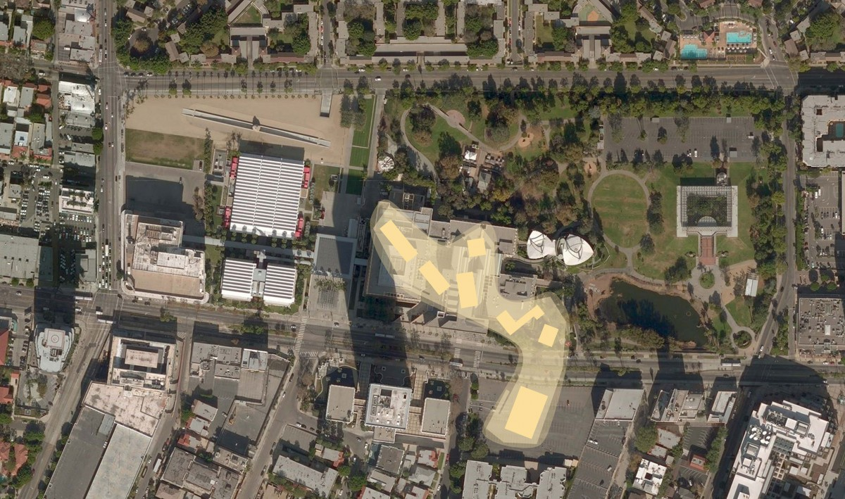 Building footprint spanning Wilshire Blvd., Atelier Peter Zumthor & Partner / LACMA
