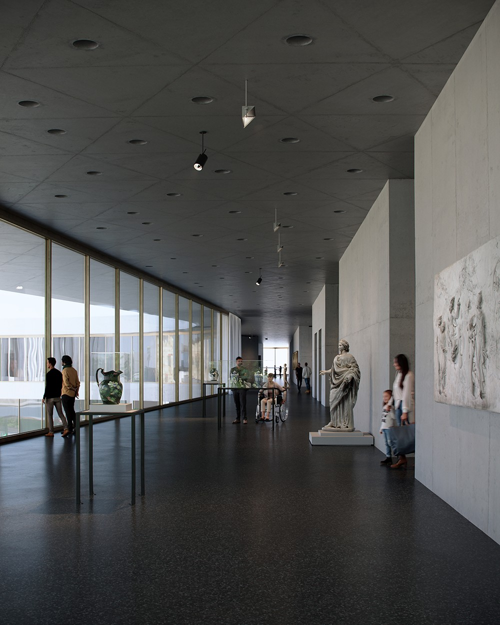 Terrace and south entrance galleries facing north, exhibition level; Atelier Peter Zumthor & Partner/The Boundary