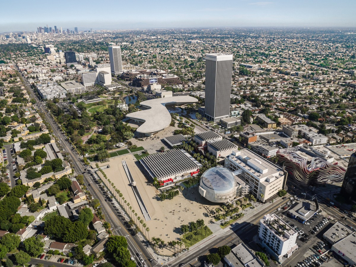 Aerial view of LACMA's campus, including David Geffen Galleries, in context of Museum Mile, Atelier Peter Zumthor & Partner/The Boundary