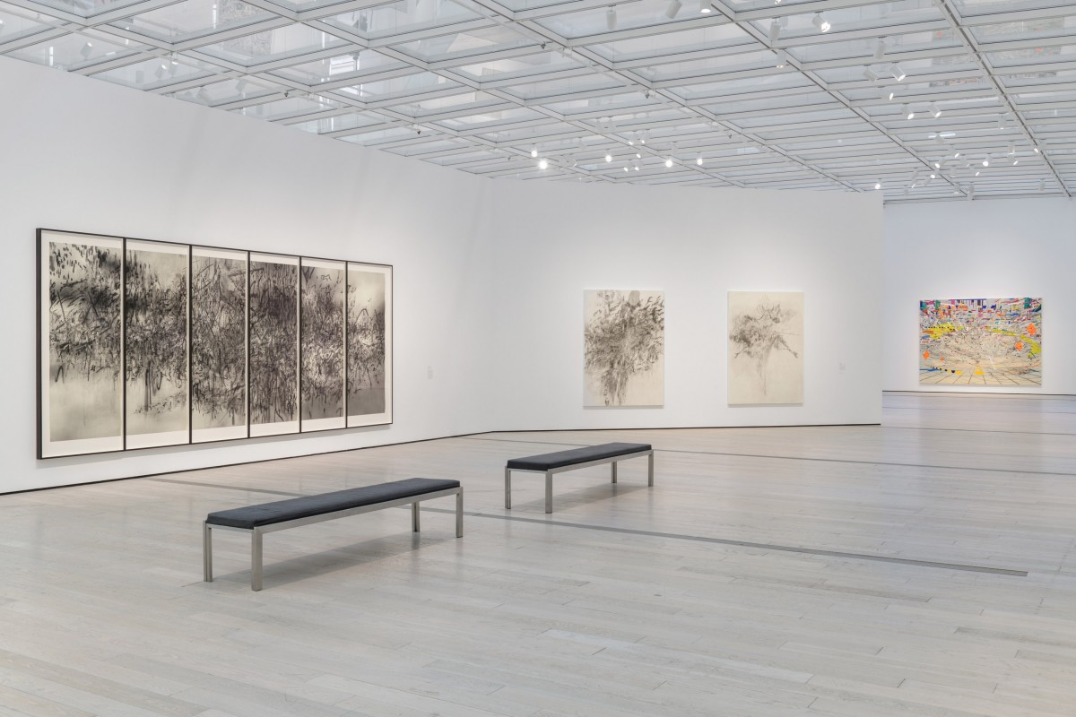 Installation photograph, Julie Mehretu, Los Angeles County Museum of Art, 2019–2020, art © Julie Mehretu, photo © Museum Associates/LACMA