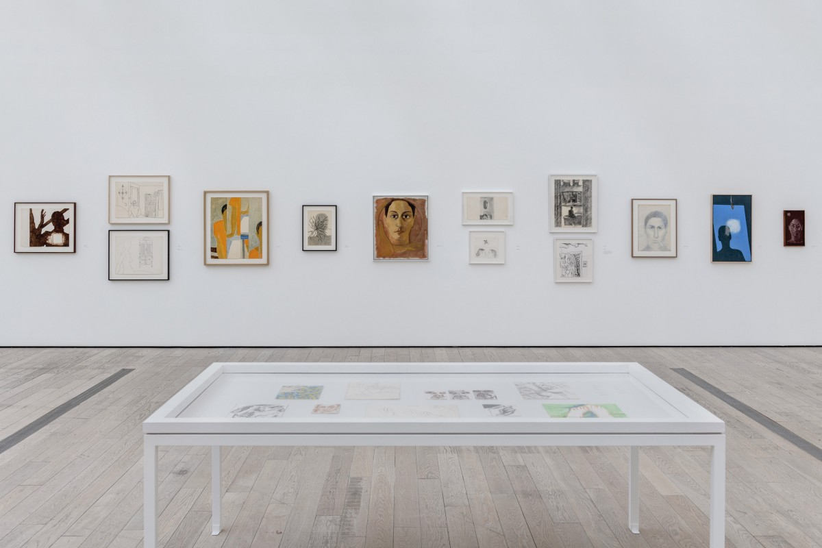 Installation photograph, Luchita Hurtado: I Live I Die I Will Be Reborn, Los Angeles County Museum of Art, 2020, art © Luchita Hurtado, photo © Museum Associates/LACMA
